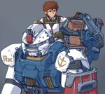 1boy alternate_universe amuro_ray brown_eyes brown_hair cameron_sewell english_commentary gundam highres mecha mobile_suit_gundam pilot_suit radio_antenna rx-78-2 shoulder_cannon visor