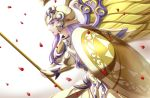 1girl armor athena_(saint_seiya) female golden_armor helmet kido_saori purple_hair rose_petals saint_seiya shield simple_background solo