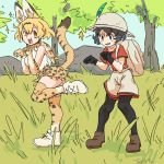 2girls :3 animal_ears bangs blonde_hair boots bow bowtie cat_ears cat_tail gloves hair_between_eyes highres kaban_(kemono_friends) kemono_friends leggings md5_mismatch multiple_girls open_mouth paw_pose savannah serval_(kemono_friends) smile tail