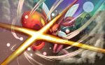 absurdres attack claws commentary_request gen_2_pokemon highres moon night no_humans outdoors pokemon pokemon_(creature) saikoraru scizor smoke tree yellow_eyes