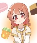 1girl alternate_hairstyle bangs blush brown_hair checkerboard_cookie child closed_mouth commentary cookie cupcake drawstring eyebrows_visible_through_hair food gradient gradient_background highres hoshino_hinata ixia_(ixia424) looking_at_viewer medium_hair red_eyes shirt short_twintails smile solo twintails upper_body watashi_ni_tenshi_ga_maiorita! white_shirt