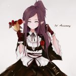 1girl alternate_costume anniversary black_ribbon cup earrings flower gloves gothic_lolita grey_background hand_in_hair highres holding holding_cup jewelry lolita_fashion long_hair long_pointy_ears macross macross_delta mirage_farina_jenius osatsu_a pointy_ears purple_hair red_flower red_gloves red_rose ribbon rose short_ponytail solo tied_hair uta_macross_sumaho_deculture