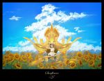 1girl black_hair clouds dress english_text fantasy flower gaimoon highres holding looking_up mecha original scenery short_hair sitting sky summer sunflower white_dress
