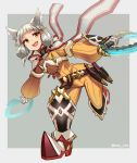 1girl :d animal_ears bodysuit boots cat_ears chakram dual_wielding facial_mark fang flat_chest full_body gloves grey_background hey_cre highres holding niyah open_mouth scarf short_hair silver_hair smile solo weapon white_gloves xenoblade_(series) xenoblade_2 yellow_bodysuit yellow_eyes