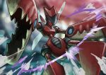 absurdres blue_eyes blurry blurry_background claws commentary_request energy gen_2_pokemon highres horns insect_wings matsumoto_(ma_tsuya) mega_pokemon mega_scizor no_humans pokemon pokemon_(creature) scizor solo wings