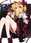 1girl blonde_hair bow breasts brown_footwear commentary crystal dress fang fingernails flandre_scarlet glowing greenkohgen grenade_launcher gun hat highres holding holding_gun holding_weapon knees_up light_blush long_fingernails m79 medium_hair mob_cap open_mouth pointy_ears red_bow red_dress red_eyes red_nails reloading shoe_bow shoes short_sleeves side_ponytail skin_fang smile solo thigh-highs touhou trigger_discipline weapon white_background white_legwear wings wrist_cuffs yellow_neckwear