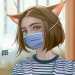 1girl animal_ears artist_name brown_hair cat_ears ciov close-up coronavirus_pandemic english_commentary green_eyes looking_to_the_side mask mouth_mask original portrait shirt short_hair solo striped striped_shirt