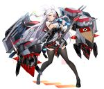 1girl admiral_hipper_(azur_lane) admiral_hipper_(azur_lane)_(cosplay) admiral_hipper_(muse)_(azur_lane) antenna_hair azur_lane bangs bare_shoulders black_footwear black_jacket black_legwear black_nails black_skirt breasts brown_eyes collared_shirt cosplay eyebrows_visible_through_hair floating_hair full_body guitar holding holding_instrument idol instrument iron_cross jacket large_breasts loafers long_hair long_sleeves looking_at_viewer luse_maonang machinery miniskirt mole mole_on_breast multicolored_hair necktie off-shoulder_jacket open_mouth pleated_skirt prinz_eugen_(azur_lane) redhead shirt shoes simple_background skirt sleeveless sleeveless_shirt solo standing streaked_hair swept_bangs thigh-highs turret two_side_up very_long_hair white_background white_shirt zettai_ryouiki