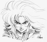1boy article_s close-up face floating_hair gemini_saga long_hair male monochrome portrait saint_seiya serious sketch solo