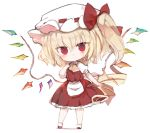 1girl :o ascot bangs blonde_hair bow brown_neckwear chibi commentary_request crystal flandre_scarlet full_body hair_between_eyes hat hat_bow kotatu_(akaki01aoki00) long_hair looking_at_viewer mob_cap one_side_up parted_lips pleated_skirt puffy_short_sleeves puffy_sleeves red_bow red_eyes red_skirt red_vest ringlets shadow shirt short_sleeves skirt solo standing touhou very_long_hair vest white_background white_headwear white_shirt wings