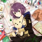 1girl 1other animal bernadetta_von_varley book byleth_eisner_(female) caspar_von_bergliez cat character_print clover crayons cute edelgard_von_hresvelg eraser feline ferdinand_von_aegir fire_emblem fire_emblem:_fuukasetsugetsu fire_emblem:_three_houses fire_emblem_16 food garreg_mach_monastery_uniform hubert_von_vestra human intelligent_systems linhardt_von_hevring loli looking_at_viewer lying mammal nintendo otoagame painting_(object) pencil petra_macneary purple_hair stuffed_toy teddy_bear violet_eyes