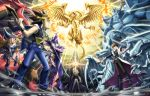 1girl 3boys arm_up black_pants blue-eyes_white_dragon blue_pants cape card commentary_request dark_magician dark_magician_girl duel_disk duel_monster holding holding_card kaiba_seto koma_yoichi kuriboh millennium_puzzle multicolored_hair multiple_boys obelisk_the_tormentor open_mouth osiris_the_sky_dragon outstretched_arm pants sleeveless standing teeth the_winged_dragon_of_ra yami_marik yami_yuugi yuu-gi-ou yuu-gi-ou_duel_monsters