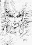 1boy article_s cancer_deathmask close-up face flame floating_hair helmet male monochrome portrait saint_seiya serious sketch solo spiky_hair