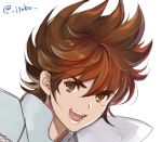 1boy brown_hair jobo_(isi88) male pegasus_seiya saint_seiya simple_background solo