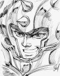 1boy article_s close-up face helmet male monochrome portrait saint_seiya sketch solo taurus_aldebaran