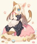 1girl animal_ears apron back_bow bangs barefoot beige_background black_dress blue_eyes blush bow bowtie brown_hair cat_ears cat_tail child commentary_request cupcake doughnut dress eating eyebrows_visible_through_hair flat_chest food full_body furry hands_up heterochromia highres holding kishibe long_hair macaron maid multicolored_hair orange_eyes original oversized_object paw_print pawpads paws puffy_short_sleeves puffy_sleeves shiny shiny_hair short_sleeves simple_background sitting solo streaked_hair tail two-tone_hair white_bow white_hair yellow_neckwear