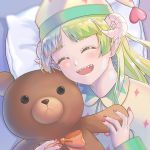 1girl 6bs_312 bow bowtie closed_eyes demon_girl green_hair horns looking_at_viewer mairimashita!_iruma-kun open_mouth pajamas pointy_ears sharp_teeth smile stuffed_animal stuffed_toy teddy_bear teeth valac_clara