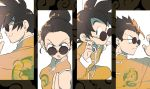 1girl 3boys black_eyes black_hair brothers chi-chi_(dragon_ball) china_dress chinese_clothes commentary dragon_ball dragon_ball_z dragon_print dress family father_and_son fighting_stance frown grin hair_bun hair_pulled_back high_collar highres husband_and_wife jacket long_sleeves looking_over_eyewear matching_outfit mother_and_son multiple_boys open_mouth orange_jacket orange_pants print_dress print_shirt shirt short_hair siblings sleeveless sleeveless_dress smile son_gohan son_gokuu son_goten spiky_hair sunglasses tangzhuang v-shaped_eyebrows yukke_(cocorikokke)