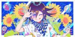 1boy :q blue_background border bracelet bubble buttons chain checkered checkered_scarf colorful danganronpa flipped_hair flower gleam highres jewelry male_focus marble merocake nail_polish new_danganronpa_v3 one_eye_closed ouma_kokichi purple_hair ramune scarf shirt short_hair short_sleeves signature splashing sunflower tongue tongue_out upper_body violet_eyes white_border white_shirt windowboxed