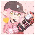 1girl bangs baseball_cap blunt_bangs collared_shirt commentary domino_mask eyebrows_visible_through_hair eyebrows_visible_through_hat fang fingerless_gloves gloves hat heart heart_background highres holding holding_weapon inkling inkling_(language) logo long_hair looking_at_viewer mask pink_background pink_hair pioxpioo pointy_ears print_headwear range_blaster_(splatoon) red_gloves red_shirt see-through shirt short_sleeves single_glove skin_fang solo splatoon_(series) tentacle_hair trigger_discipline upper_body weapon yellow_eyes