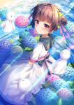 1girl :3 back_bow bangs blunt_bangs bow braid brown_hair bubble closed_mouth clouds commentary_request double_bun dress flower from_above hair_ribbon highres holding holding_flower leaf looking_at_viewer looking_to_the_side original partially_submerged reflection ribbon ripples sailor_collar sky smile solo teruterubouzu torokeru_none violet_eyes water white_dress