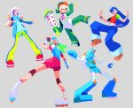 1boy 3girls :d :| \n/ alice_ip babahara_ronpei baggy_pants bangs baseball_cap beanie black_gloves blue_eyes blue_gloves blue_hair blue_hoodie blush_stickers bodysuit brown_footwear character_request charmy_anderson closed_mouth commentary crop_top dance_dance_revolution dancing denim elbow_gloves fingerless_gloves from_behind gloves green_bodysuit green_hair green_pants grey_background hair_over_one_eye hand_up hands_up hat headset holding_rattle hood hoodie id_card inline_skates knee_pads konsento_(dance_dance_revolution) lanyard long_hair looking_at_viewer looking_back looking_down midriff mismatched_gloves mismatched_sleeves multiple_girls neon_trim one_eye_closed one_eye_covered open_mouth orange_hair outstretched_arms pants pants_rolled_up pink_shorts pumpkin_pants purple_hair rattle rebekah_jin red_footwear robot roller_skates shoes short_hair short_sleeves shorts sidelocks signature simple_background skates smile sneakers standing standing_on_one_leg star_(symbol) striped striped_pants striped_wristband suspenders sweatband sweatpants swept_bangs symbol_commentary toshiba_emi twintails twitter_username w white_footwear white_headwear wristband
