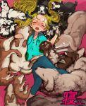 1girl animal_focus blonde_hair blue_hoodie blue_legwear bosako_(haguhagu) closed_eyes dog haguhagu_(rinjuu_circus) hair_spread_out highres hood hoodie horns leggings long_hair lying midriff_peek navel on_back open_mouth original pink_background pug shiba_inu sleeping solo too_many_dogs very_long_hair
