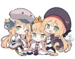 >_o 3girls :d ;) ahoge artoria_pendragon_(all) artoria_pendragon_(caster) bangs beni_shake beret black_cape black_headwear black_legwear blonde_hair blush boots brown_footwear brown_gloves cape closed_mouth commentary_request crown double_v dress eyebrows_visible_through_hair fate/grand_order fate_(series) girl_sandwich gloves green_eyes grey_headwear grey_skirt hair_between_eyes hands_up hat long_hair looking_at_viewer mini_crown multiple_girls one_eye_closed open_mouth pantyhose sandwiched shirt signature simple_background sitting skirt smile thigh-highs tilted_headwear v very_long_hair white_background white_dress white_shirt