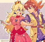 1boy 1girl :d :o bandana belt blonde_hair blue_eyes breasts brown_eyes brown_hair crown dragon_quest dragon_quest_viii dress earrings elbow_gloves gloves hero_(dq8) highres jewelry kiriya_(552260) long_hair mario_(series) open_mouth pink_dress princess_peach simple_background smile super_mario_bros. super_smash_bros. very_long_hair white_gloves