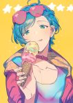1boy :q ahoge bangs bangs_pinned_back blue_hair collar commentary_request ear_piercing ensemble_stars! eyebrows_visible_through_hair eyewear_on_head food gradient_clothes gradient_shirt green_eyes hair_ornament hairclip hareyuu holding holding_food ice_cream_cone jacket licking_lips long_sleeves piercing pink_jacket raised_eyebrows shinkai_kanata short_hair simple_background solo sparkle sunglasses tongue tongue_out upper_body yellow_background