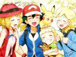 2boys 2girls :d baseball_cap blonde_hair blue_jacket blue_ribbon citron_(pokemon) closed_eyes collarbone dedenne eureka_(pokemon) friends gen_1_pokemon gen_6_pokemon green_hair grin hand_on_hip hat jacket kanimaru legendary_pokemon multiple_boys multiple_girls neck_ribbon open_mouth petting pikachu pokemon pokemon_(anime) pokemon_(creature) pokemon_xy_(anime) red_headwear ribbon rimless_eyewear round_eyewear satoshi_(pokemon) serena_(pokemon) short_hair short_sleeves smile thank_you upper_body zygarde zygarde_core
