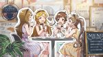 brown_eyes brown_hair dress hakozaki_serika idolmaster_million_live!_theater_days kinoshita_hinata long_hair minase_iori shinomiya_karen short_hair smile