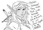 bandana bb_(baalbuddy) dark dark_elf elf greyscale monochrome original pointy_ears solo solo_focus sword weapon