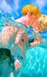 1boy 1girl annie_leonhardt armin_arlert bikini blonde_hair blue_bikini blue_eyes hug kiss shingeki_no_kyojin swimsuit water