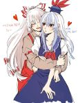 beige_shirt blue_dress blue_hair blush closed_eyes collared_shirt dress fujiwara_no_mokou happy hat heart highres hug hug_from_behind kamishirasawa_keine korean_text long_hair long_sleeves multicolored_hair neck_ribbon open_mouth pants puffy_short_sleeves puffy_sleeves red_eyes red_pants red_ribbon ribbon shirt short_sleeves streaked_hair suspenders sweat translation_request v-neck very_long_hair white_hair yuri