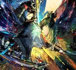 2boys armor ashina_genichirou battle black_armor black_cloak black_eyes black_hair brown_scarf cloak closed_mouth commentary duel emphasis_lines fighting_stance haori helmet holding holding_sword holding_weapon japanese_armor japanese_clothes kabuto katana kofuku_(artist) leaning_forward male_focus multicolored multicolored_background multiple_boys ninja ponytail red_eyes samurai scarf sekiro sekiro:_shadows_die_twice short_hair short_ponytail sparks sword upper_body weapon