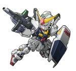beam_rifle chibi energy_gun green_eyes gun gundam gundam_mk_ii holding holding_gun holding_shield holding_weapon kubotami looking_up mecha no_humans shield solo v-fin weapon white_background zeta_gundam