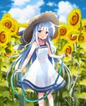 1girl absurdres bangs blue_eyes blurry blurry_background blush brown_headwear clouds day dress eyebrows_visible_through_hair flower hat hibiki_(kantai_collection) highres hizuki_yayoi holding holding_hose hose kantai_collection long_hair open_mouth outdoors rainbow silver_hair sky solo sun_hat sunflower water white_dress yellow_flower