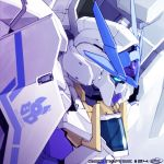 blue_eyes commentary_request copyright_name ebikawa_kanetake emblem english_text episode_number group_name gundam gundam_00_sky_moebius gundam_build_divers gundam_build_divers_re:rise highres insignia logo mecha no_humans official_art signature upper_body