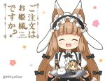 1girl :d ^_^ animal_ear_fluff animal_ears black_bow black_hairband black_ribbon blush bow breasts brown_hair character_doll closed_eyes collared_shirt commentary_request copyright_name cosplay english_text facing_viewer fake_animal_ears fang fleur_de_lapin_uniform floppy_ears frilled_hairband frills gochuumon_wa_usagi_desu_ka? hair_bow hair_ribbon hair_tubes hairband holding holding_tray kirima_sharo long_hair maho_(princess_connect!) miicha open_mouth princess_connect! princess_connect!_re:dive puffy_short_sleeves puffy_sleeves rabbit_ears ribbon shirt short_sleeves sidelocks simple_background small_breasts smile solo tippy_(gochiusa) tray twitter_username uniform upper_body very_long_hair waitress white_background white_shirt