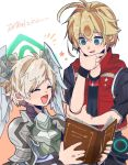 2boys :d blonde_hair book hand_on_own_chin head_wings height_difference highres jacket mugimugis multiple_boys open_mouth orange_background red_jacket shulk smile teelan_(xenoblade) white_background xenoblade_(series) xenoblade_1 xenoblade_1:_tsunagaru_mirai