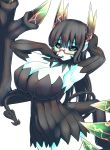1girl alternate_costume black_dress black_gloves black_hair blue_skin breasts curvy demon_girl demon_wings detached_sleeves dress energy finger_to_mouth glasses gloves green_eyes highres huge_breasts juugoya_(zyugoya) merii_(musuko_ga_kawaikute_shikatanai_mazoku_no_hahaoya) musuko_ga_kawaikute_shikatanai_mazoku_no_hahaoya semi-rimless_eyewear thighs transformation under-rim_eyewear white_background wings