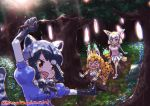 3girls :d animal_ear_fluff animal_ears arm_up black_hair blonde_hair blue_shirt bow bowtie brown_eyes commentary_request common_raccoon_(kemono_friends) dated day elbow_gloves extra_ears fang fennec_(kemono_friends) forest fox_ears fox_tail fur_collar gloves grey_hair holding holding_stick kemono_friends multicolored_hair multiple_girls nature open_mouth outdoors pink_shirt pleated_skirt print_bow print_gloves print_legwear print_neckwear print_skirt puffy_short_sleeves puffy_sleeves raccoon_ears raccoon_tail serval_(kemono_friends) serval_ears serval_print serval_tail shirt short_sleeves skirt smile stick tail thigh-highs tree tripping twitter_username white_skirt xo yonaka-nakanoma