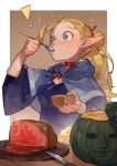 ! 1girl absurdres blonde_hair blush bowl brown_background capelet commentary_request dungeon_meshi eating elf food green_eyes hair_bun hair_ribbon highres huge_filesize long_hair looking_away marcille meat pointy_ears ponytail pumpkin red_ribbon ribbon solo spoon two-tone_background uedrk_yamato upper_body white_background