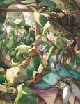 2girls :d :o absurdres aljae_(p&d) alynna_(p&d) circlet dress gloves green_hair hat highres jewelry kuuron_(moesann17) long_hair multiple_girls necklace open_mouth plant pointy_ears puzzle_&_dragons sitting smile tree vines waving witch_hat