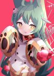 1girl absurdres ahoge akashi_(azur_lane) animal_ears arms_up azur_lane bangs cat_ears commentary_request eyebrows_visible_through_hair gem green_hair hair_between_eyes highres long_hair machinery mole mole_under_eye ruby_(gemstone) sanba_tsui screwdriver sleeves_past_fingers sleeves_past_wrists tongue tongue_out tools very_long_hair wide_sleeves wrench yellow_eyes