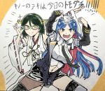 2girls bangs black_hair black_neckwear blue_eyes blue_hair blush breasts clenched_hands commentary_request detached_sleeves eyebrows_visible_through_hair glasses green-framed_eyewear green_eyes headgear japanese_clothes kantai_collection kirishima_(kantai_collection) large_breasts long_hair multicolored_hair multiple_girls navel necktie nontraditional_miko open_mouth pose redhead ribbon-trimmed_sleeves ribbon_trim short_hair simple_background single_leg_pantyhose smile south_dakota_(kantai_collection) sparkle star_(symbol) traditional_media translation_request two-tone_background white_hair yi_ri_wu_shi_(sui_cun)