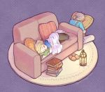 1boy 1girl black_pants blanket blonde_hair blue_shirt blush book_stack candle closed_eyes commentary couch ear_blush face_in_pillow full_body hira_(otemoto84) lantern link lying medium_hair on_side pants pillow pillow_hug pointy_ears polka_dot polka_dot_background princess_zelda purple_background rug shirt short_hair short_ponytail sitting sleeping slippers slippers_removed the_legend_of_zelda the_legend_of_zelda:_breath_of_the_wild the_legend_of_zelda:_breath_of_the_wild_2 twitter_username white_pants