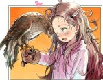 :d bird bird_on_hand blue_eyes blush bosako_(haguhagu) brown_gloves brown_hair falconry fang gloves haguhagu_(rinjuu_circus) hawk heart hood hood_down hoodie horns long_hair long_sleeves one_eye_closed open_mouth original pink_hoodie shiny shiny_hair smile