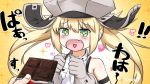 +_+ 1girl :d artoria_pendragon_(all) artoria_pendragon_(caster) bangs bare_shoulders blonde_hair blush candy chocolate chocolate_bar commentary_request eyebrows_visible_through_hair fang fate/grand_order fate_(series) food gloves gradient gradient_background green_eyes grey_gloves grey_headwear hair_between_eyes hands_up hat heart heart_in_mouth highres holding holding_food long_hair neon-tetora open_mouth out_of_frame shirt signature sleeveless sleeveless_shirt smile solo_focus sparkle twintails upper_body white_background white_shirt yellow_background